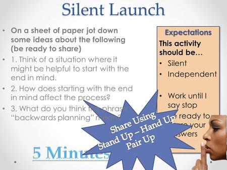 Silent Launch Expectations This activity should be… Silent Independent Work until I say stop Be ready to share your answersExpectations This activity should.