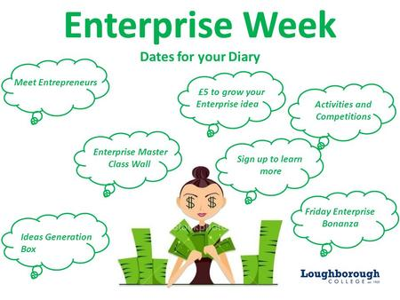 Enterprise Week Dates for your Diary Activities and Competitions £5 to grow your Enterprise idea Ideas Generation Box Friday Enterprise Bonanza Enterprise.