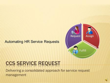 Delivering a consolidated approach for service request management Automating HR Service Requests.