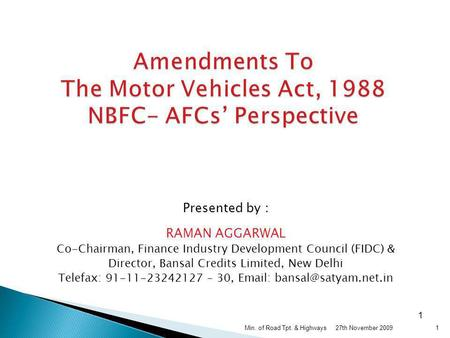 Amendments To The Motor Vehicles Act, 1988 NBFC- AFCs' Perspective