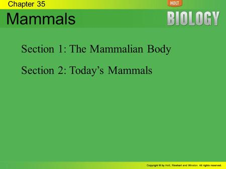 Mammals Section 1: The Mammalian Body Section 2: Today's Mammals