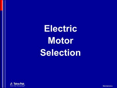 Electric Motor Selection.