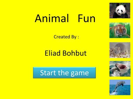 Animal Fun Created By : Eliad Bohbut Start the game.