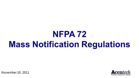 NFPA 72 Mass Notification Regulations