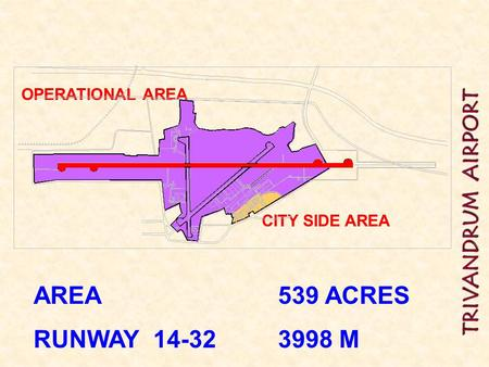 CITY SIDE AREA OPERATIONAL AREA AREA 	 			539 ACRES RUNWAY 14-32 		3998 M.