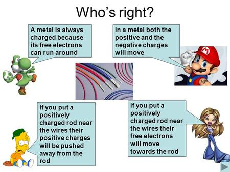 Whos right? A metal is always charged because its free electrons can run around If you put a positively charged rod near the wires their positive charges.