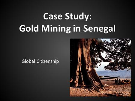 Case Study: Gold Mining in Senegal Global Citizenship.