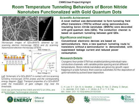 Room Temperature Tunneling Behaviors of Boron Nitride Nanotubes Functionalized with Gold Quantum Dots CNMS User Project Highlight Scientific Achievement.