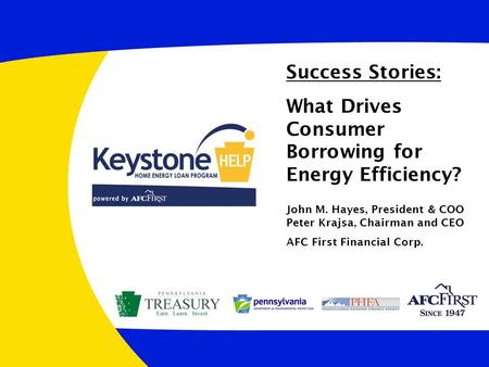 Success Stories: What Drives Consumer Borrowing for Energy Efficiency? John M. Hayes, President & COO Peter Krajsa, Chairman and CEO AFC First Financial.