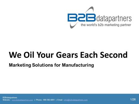 B2Bdatapartners Website:-  | Phone:- 800-382-4081 |  -