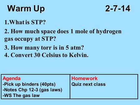Warm Up					2-7-14 1.What is STP? 2. How much space does 1 mole of hydrogen gas occupy at STP? 3. How many torr is in 5 atm? 4. Convert 30 Celsius to Kelvin.