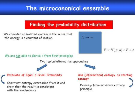 The microcanonical ensemble Finding the probability distribution We consider an isolated system in the sense that the energy is a constant of motion. We.