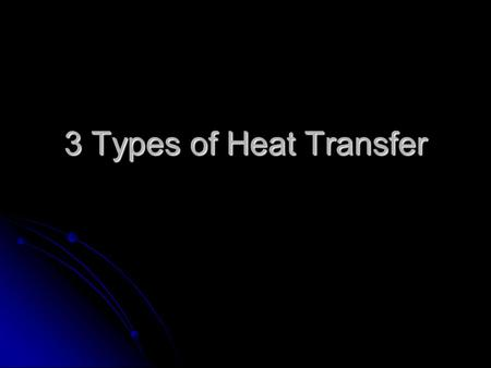 3 Types of Heat Transfer.