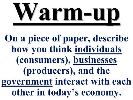 Warm-up On a piece of paper, describe how you think individuals (consumers), businesses (producers), and the government interact with each other in todays.