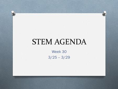 STEM AGENDA Week 30 3/25 – 3/29. Agenda 3/25 O Learning Target: Continue learning about general safety. O Agenda: O Review General Safety O Prepare to.