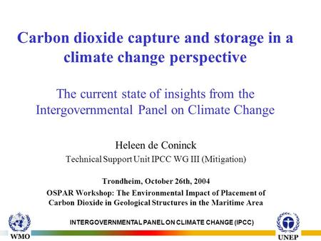 INTERGOVERNMENTAL PANEL ON CLIMATE CHANGE (IPCC) Carbon dioxide capture and storage in a climate change perspective The current state of insights from.