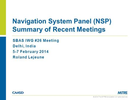Navigation System Panel (NSP) Summary of Recent Meetings