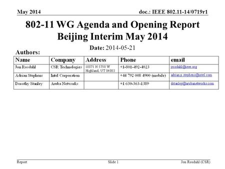 WG Agenda and Opening Report Beijing Interim May 2014