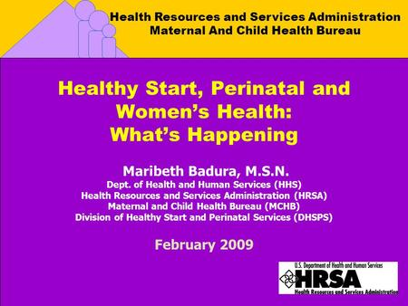 Health Resources and Services Administration Maternal And Child Health Bureau Healthy Start, Perinatal and Womens Health: Whats Happening Maribeth Badura,