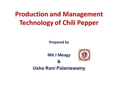 Production and Management Technology of Chili Pepper