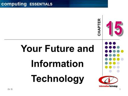CHAPTER Ch 151 1515 Your Future and Information Technology computing ESSENTIALS.