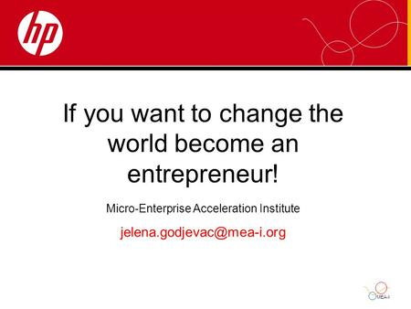 MEA-I If you want to change the world become an entrepreneur! Micro-Enterprise Acceleration Institute