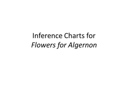 Inference Charts for Flowers for Algernon