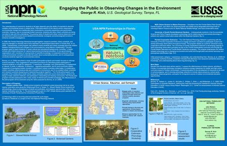 Engaging the Public in Observing Changes in the Environment George R. Kish, U.S. Geological Survey, Tampa, FL USA NATIONAL PHENOLOGY NETWORK Jake Weltzin.