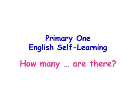 Primary One English Self-Learning