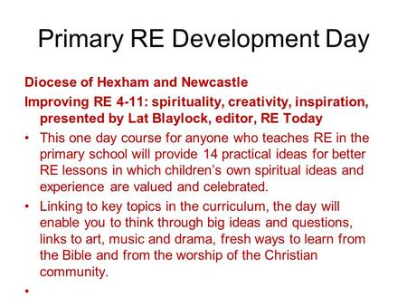 Primary RE Development Day