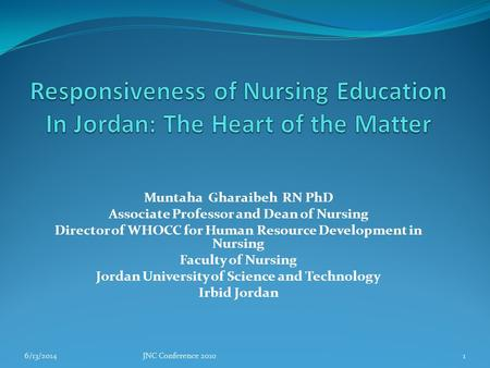Muntaha Gharaibeh RN PhD Associate Professor and Dean of Nursing Director of WHOCC for Human Resource Development in Nursing Faculty of Nursing Jordan.