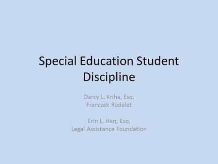Special Education Student Discipline