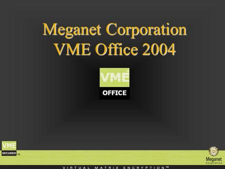 Meganet Corporation VME Office 2004. Meganet Corporation Meganet Corporation is a leading worldwide provider of data security to Governments, Military,