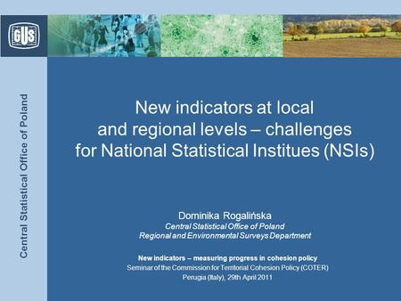 Central Statistical Office of Poland New indicators at local and regional levels – challenges for National Statistical Institues (NSIs) Dominika Rogalińska.