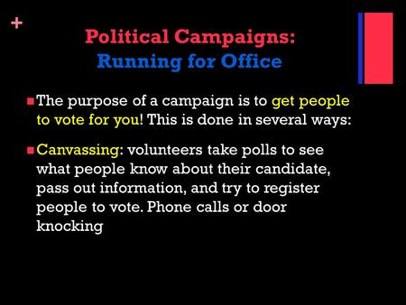 Political Campaigns: Running for Office