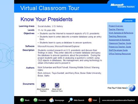 Know Your Presidents Project Overview Teacher Planning Work Samples & Reflections Teaching Resources Assessment & Standards Classroom Teacher Guide Preservice.