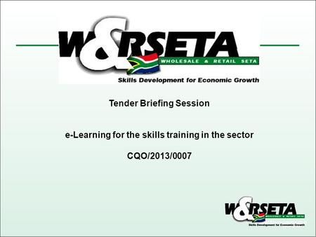 Tender Briefing Session e-Learning for the skills training in the sector CQO/2013/0007.