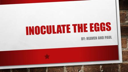 INOCULATE THE EGGS BY: HEAVEN AND PAUL INTRODUCTION PART A, B, C, D, E, AND F OF OUR CONCEPT. OUR S.W.O.T. ANALYSIS. TARGET MARKET. PRICING. PRODUCT.