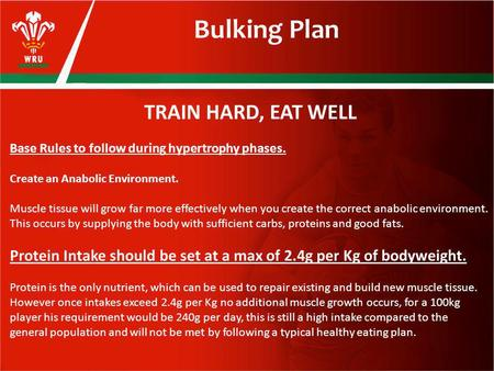 Bulking Plan TRAIN HARD, EAT WELL Base Rules to follow during hypertrophy phases. Create an Anabolic Environment. Muscle tissue will grow far more effectively.