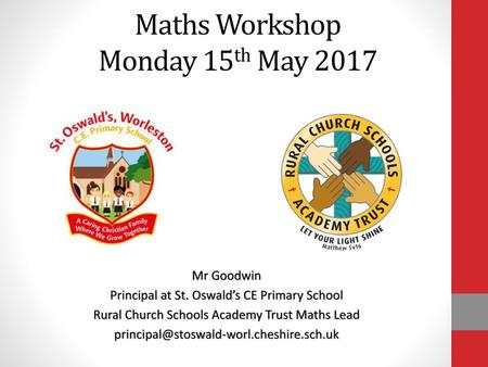 Maths Workshop Monday 15th May 2017