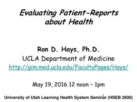Assessing Patient-Reported Outcomes of Hemodialysis - ppt