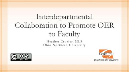 Interdepartmental Collaboration to Promote OER to Faculty