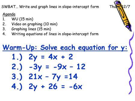 slope intercept form video  Lines, Lines, Lines!!! ~ Slope-Intercept Form - ppt video ...