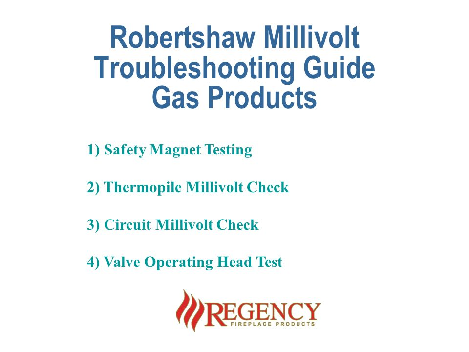 robertshaw millivolt troubleshooting guide gas products