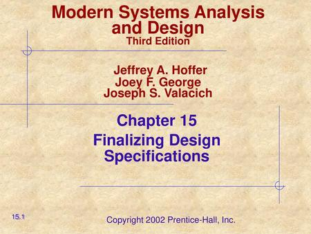 8 1 Lecture 8 Finalising Design Specifications