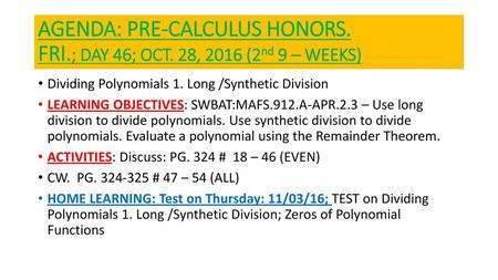 Honors Precalculus: Do Now - ppt download