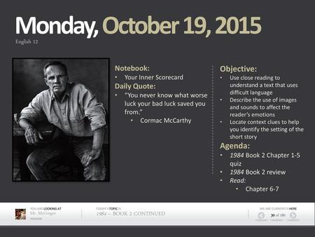 Monday, October 12, 2015 Objective: Agenda: Notebook: Daily