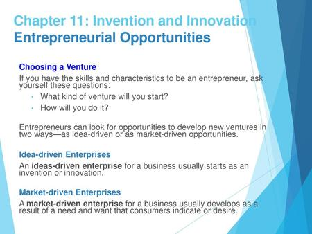 1 Chapter 11: Invention and Innovation Entrepreneurial