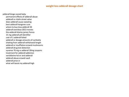 Weight Loss Adderall Dosage Chart