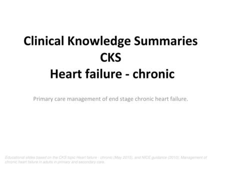 Managing end stage COPD in primary care